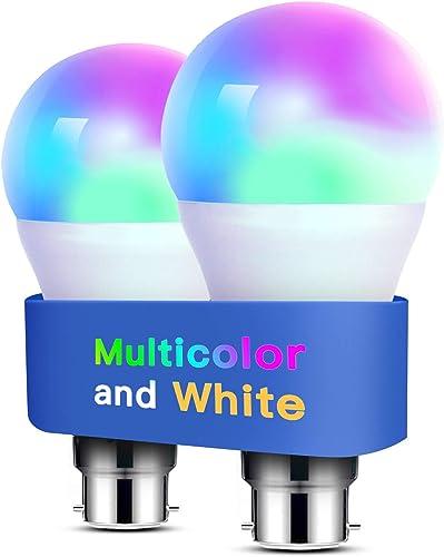 Alexa Light Bulbs WiFi Smart Bulbs B22 Bayonet [2 Pack] Compatible with Echo Alexa Google Home Dimmable Warm Light an...