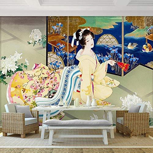 ARXBH behang zelfklevende muurschildering Kimono Beauty muurschildering kersenbloesem fotobehang 3D behang muur slaapkamer restaurant tv-achtergrond Japan 250x175 cm (BxH) 5 Streifen - selbstklebend