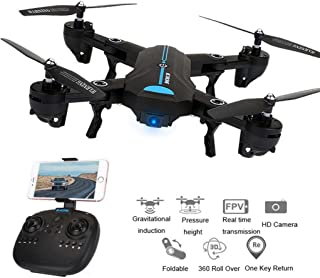 Boyiya Wifi FPV Foldable RC Quadcopter, Mini A6 2.4G 4CH 6 Axis Altitude Hold Function Remote Control Drone with 720P HD 2MP Camera Drone RC Toy Drone (Black)