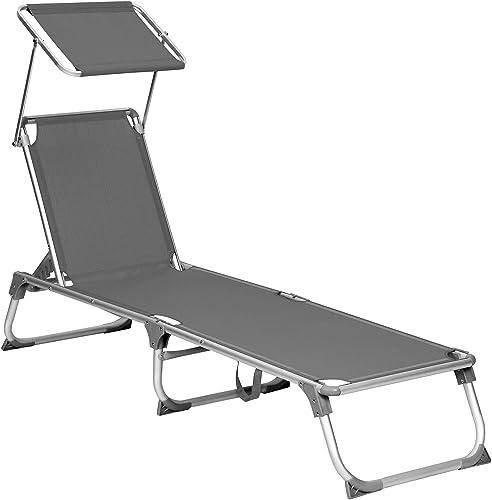 SONGMICS Chaise longue, Bain de soleil, Transat de relaxation, avec dossiers et parasol inclinables, pliable, léger, ...