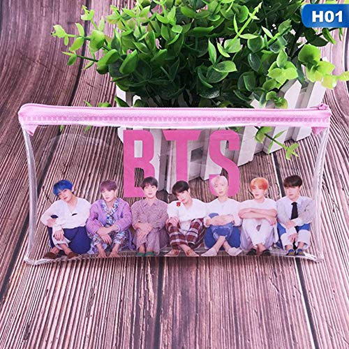 Hosston BTS Pencil Bag, Kpop Bangtan Boys Album《MAP of The Soul: Persona》Transparent PVC Pencil Case Cosmetic Makeup Bag Stationery Zipper Bag Nice Gift for A.R.M.Y(Style 01)