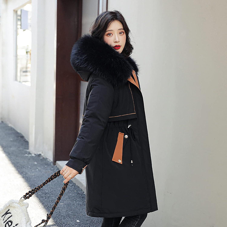 HDgTSA Women's Windproof Quilted Sherpa Lined Faux Fur Hooded Winter Parka Coat Jacket