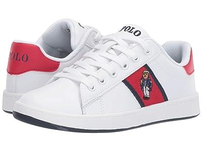 Polo Ralph Lauren Kids Quilton Bear (Little Kid) (White Leather/Navy/Light Pink Striping/Marseilles Bear) Girl