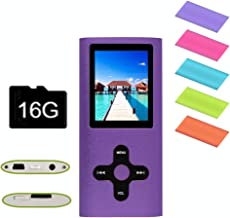 RHDTShop MP3 MP4 Player with a 16 GB Micro SD Card, Support UP to 64GB TF Card, Rechargeable Battery, Portable Digital Music Player/Video/E-Book Reader, Ultra Slim 1.7