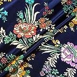 HELLOCOOL Chinese Satin Faux Brocade Fabric, Damast Silky