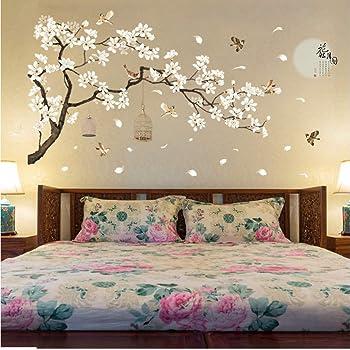 zzlfn3lv 187 * 128 cm Tamaño Grande Árbol Pegatinas de Pared Flor de Aves Decoración para el Hogar Fondos para la Sala de Estar Dormitorio DIY Decoración de Habitaciones de Vinilo: Amazon.es: Hogar