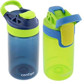 Contigo Kids Autoseal Gizmo Sip Water Bottles - Perfect for Children & Parents on The Go – Navy Blue/Chartreuse, 14oz - (2 Pack)