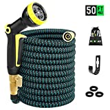 monyar 50ft Expandable Garden Hose, 50' Expanding Hoses Extra Strength Fabric Outdoor Flexible Hose Yard Hose, Water Hose with 3/4 inch Solid Brass Fittings 9 Function Spray Pattern Nozzle