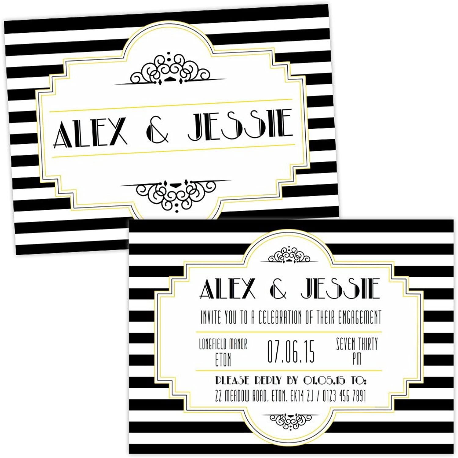 Made by Mika Personalised engagement party invitations BLACK WHITE 1920'S ART DECO FREE DRAFT & FREE ENVELOPES (40, A6 folded Pearl or Textured card)