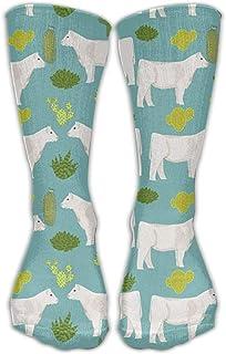 Hunter qiang, Charolais Cattle Cow und Cactus - Calcetines largos de vestido, 50 cm