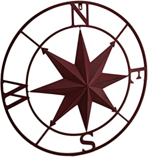 Zeckos Metal Compass Rose Distressed Finish Wall Hanging