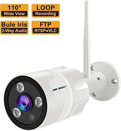 1080P Outdoor Security Camera - GENBOLT Wireless WiFi Home Surveillance IP Camera,Customizable Motion Detection,110° Super Wide View,Loop Recording with 2-Way Audio,Instant Image Activity Alert