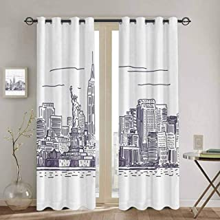 New York Sliding Door Curtains for Living Room Sketchy Simple View of NYC Statue of Liberty Freedom Symbol Ellis Island Print Cute Curtain W52 x L108 Inch Purple White