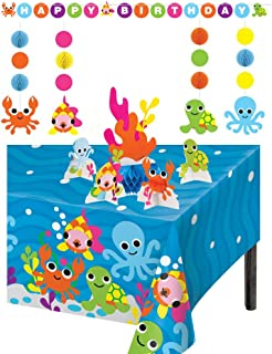 TLP Online Ocean Theme Birthday Party Supplies Decorations: Bundle Includes Large Ribbon Tied Banner, 5 Piece Centerpiece Set, Hanging String Decorations, Plus a Table Cover