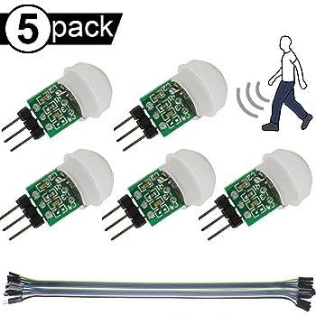 Youmile 5PACK IR Menschensensor AM312 Mini-Detektormodul HC-SR312 Pyroelektrischer Infrarot-PIR-Bewegungsmelder DC 2,7 bis 12 V für Arduino 2 A1U2 Mit Dupont-Draht