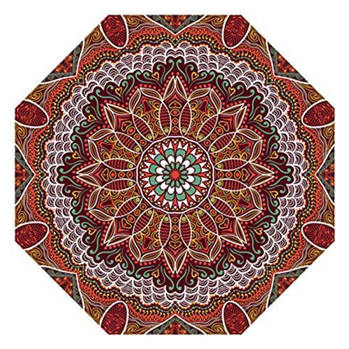 Tapis CXIA De Zone Octogonale Rétro Résumé Texture Texture Modèle Ethnique Style Accueil Design Doux Antidérapant pour Salon-5 Taille(Size:140cm,Color:CX-01)