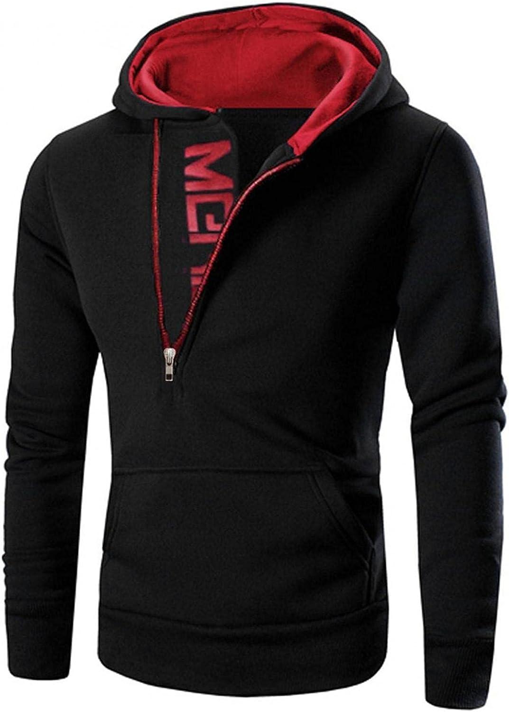 Men's Novelty Color Block Pullover Fashion Zipper Athletic Sweatshirts Hoodie Long Sleeve Jackets Slim Top