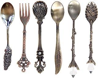 Dessert Spoons,Coffee SpoonTeaspoon,Awakingdemi Vintage Royal Style Metal Carved Fruit Dessert Spoons for Kitchen Dining Bar,6pccs/set
