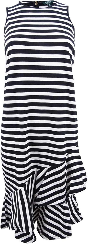 Lauren Ralph Lauren Womens Striped Asymmetrical Flounce Dress