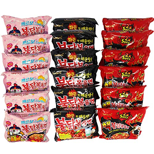 18x140g Samyang Ramen Nudeln - Fire Noodle Set | 6x140g (Rot) Hot Chicken Flavor Ramen DOPPEl 2x Spicy | 6x140g (Schwarz) Hot Chicken Flavor Ramen | 6x130g (Rosa) Hot Chicken Flavor Carbonara