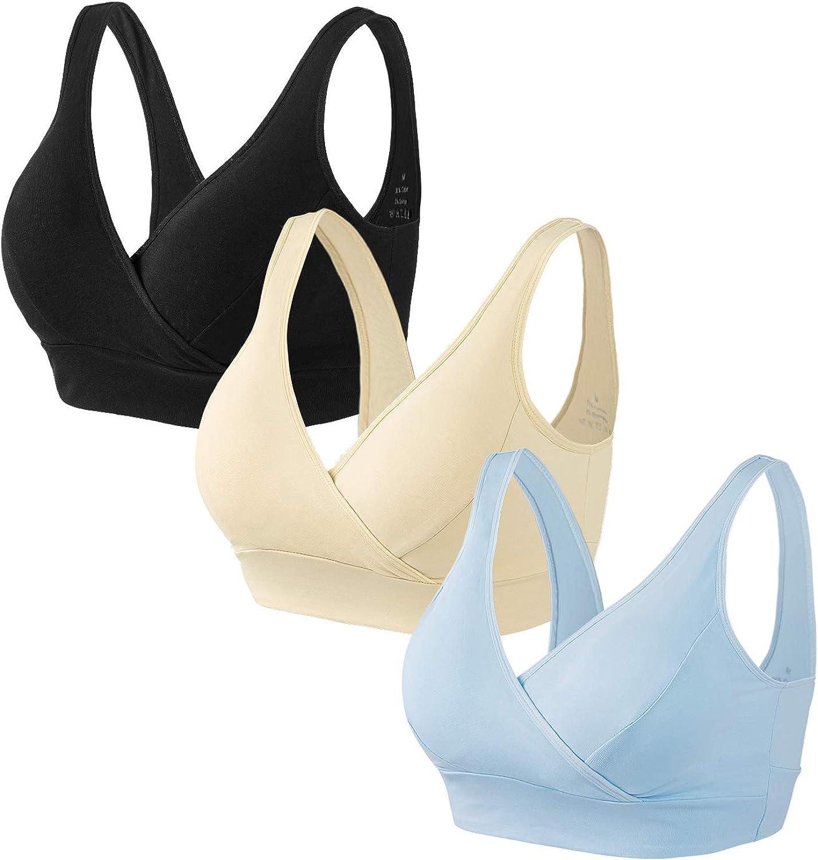 HBselect 3 Piezas Sujetador Embarazo Algodón Sin Aros Sujetador De Lactancia Sujetadores para Premamá para Mejorar Dormir