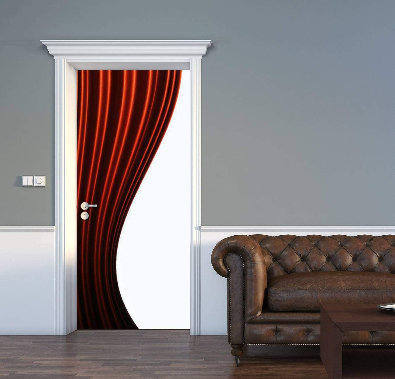 AceChic Door Decal Beautiful Background Tulsa Mall Curtain List price red