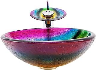TAN Lavabo De Vidrio Templado Lavabo Lavabo Arte De Baño Lavabo sobre Encimera Lavabo Sanitario,A