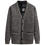 Chaqueta de Punto con Cuello en V para Hombre Chaqueta de Punto de Color sólido de Gran tamaño Suéter cálido Informal clásico de un Solo Pecho X-Large