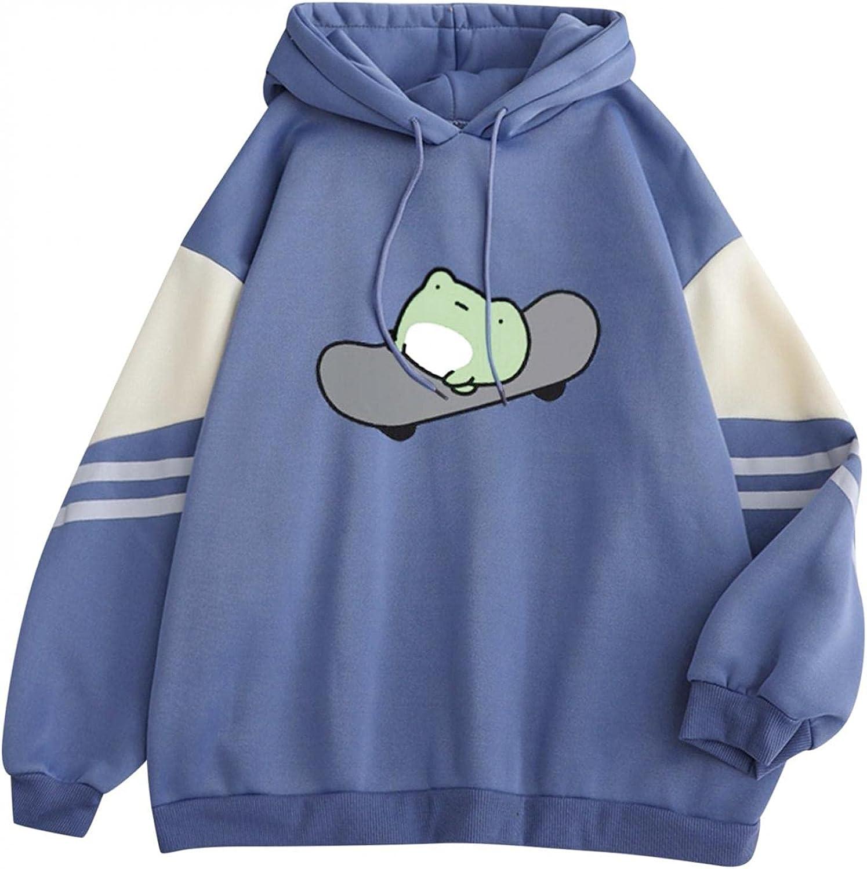 Womens Hoodies, Women Girls Fashion Frog Printed Long Sleeve Plus Size Hoodie Loose Sweatshirts Graphic Tops