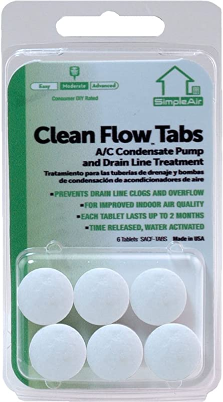 SimpleAir Clean Flow HVAC Drain Line Treatment Tabs 6 Count
