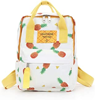 Wultia - Pineappl Printing High Quality Canvas Printed White Backpack Korean Style Students Travel Bag Girls School Bag Backpack #G8 White