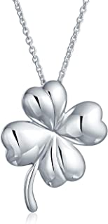 Irish Shamrock Shape Lucky Charm Four Leaf Clover Pendant Necklace For Women For Teen 925 Sterling Silver