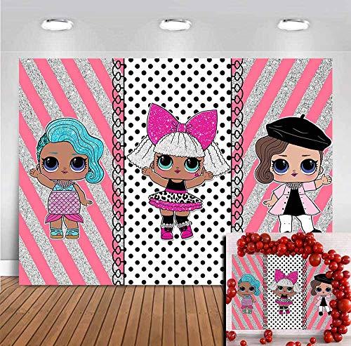 Cartoon Doll Toddler Girls Newborn Baby Shower Photo Backgrounds Vinyl 7x5ft Pink and Silver Glitter Stripes Children Happy Birthday Party Banner Photo Backgrounds Desserts Table Photobooth Props