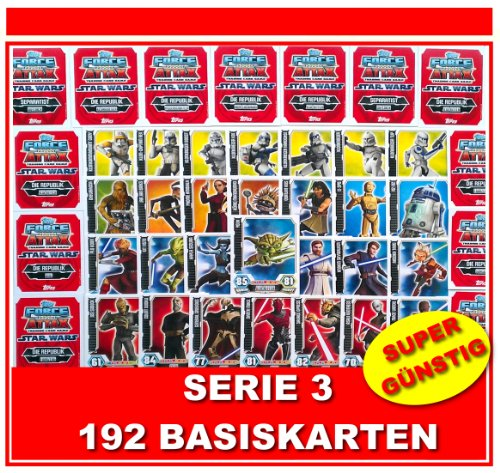 STAR WARS FORCE ATTAX SERIE 3 - CLONE WARS - ALLE 192 BASISKARTEN