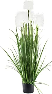 GTIDEA 46 inches Artificial Reed Grasses Potted Plant PVC Fake Greenry Plant Outdoor with Black Pot Home Office Bedroom Garden Patio Decor