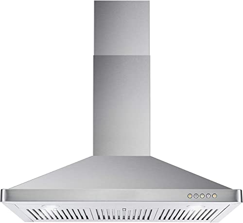 Cosmo 63190 36 in. Wall Mount Range Hood with Ductless Convertible Duct, Kitchen Chimney-Style Over Stove Vent, 3 Spe...