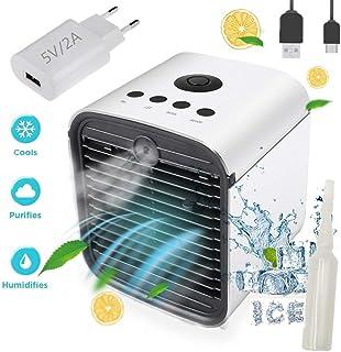QianQi Air Mini Cooler Aire Acondicionado Portátil-3 en 1 Climatizador Evaporativo Frio Ventilador Humidificador Purificador de Aire, Leakproof Nuevo Filtros,Aires acondicionados (New+Enchufe)