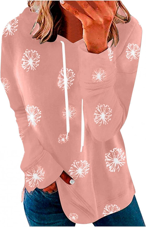 VISLINDU Hoodies for Womens Women's 67% OFF of fixed price Dandelion Slee Printed Gorgeous Long