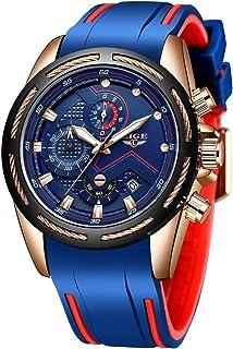 Lige Men's Watch Fashion Waterproof Silica Gel Chronograph Luxury Business Analog Quartz Watches Classic Black Belt Date C...