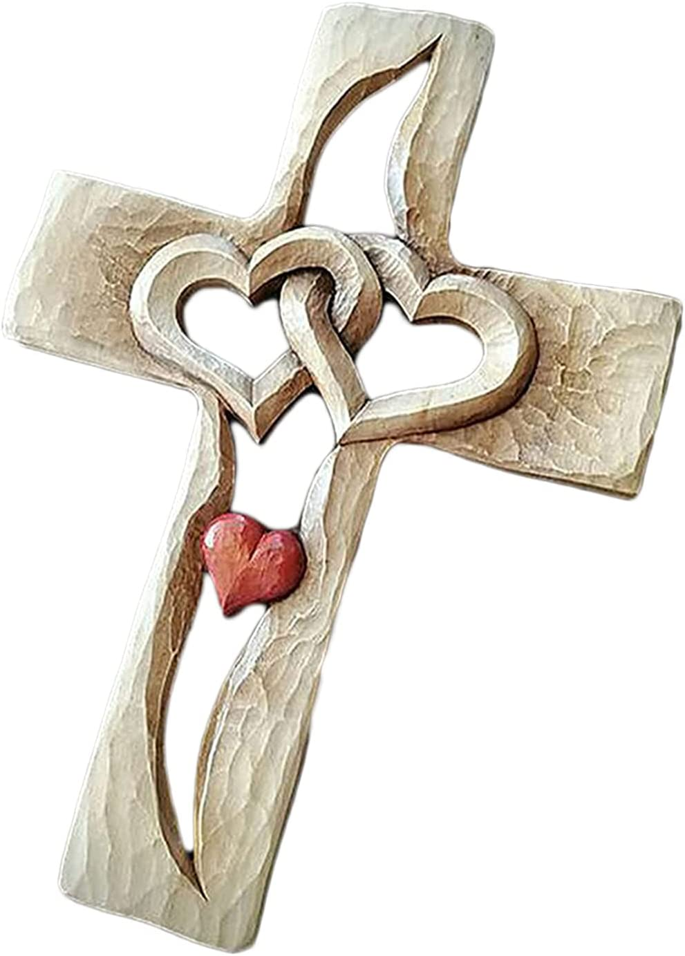 Carved Houston Mall Wooden Cross with Hollow Intertwined Hanging Gifts Love Hearts