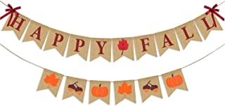 Thanksgiving Fall Decorations, Happy Fall Burlap Banner and Autumn Pumpkins Maple Leaves Acorn Garlands Bunting, Mantel Fireplace Decor