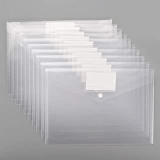 Plastic Envelopes Poly Envelopes, Sooez 20 PACK Clear Document Folders US Letter A4 Size File Envelopes with Label Pocket ...