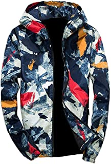 iYYVV Mens Full Zip Camouflage Long Sleeve Pocket Sport Hooded Camo Field Jacket