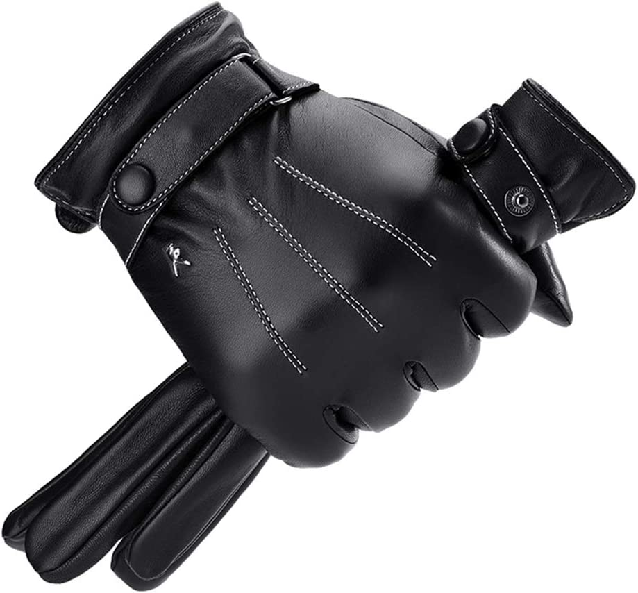 Gloves Cold Weather Autumn and Winter Men's Warm Thick Winter Touch Screen Riding Outdoor Sheepskin Leather Beautiful Mittens