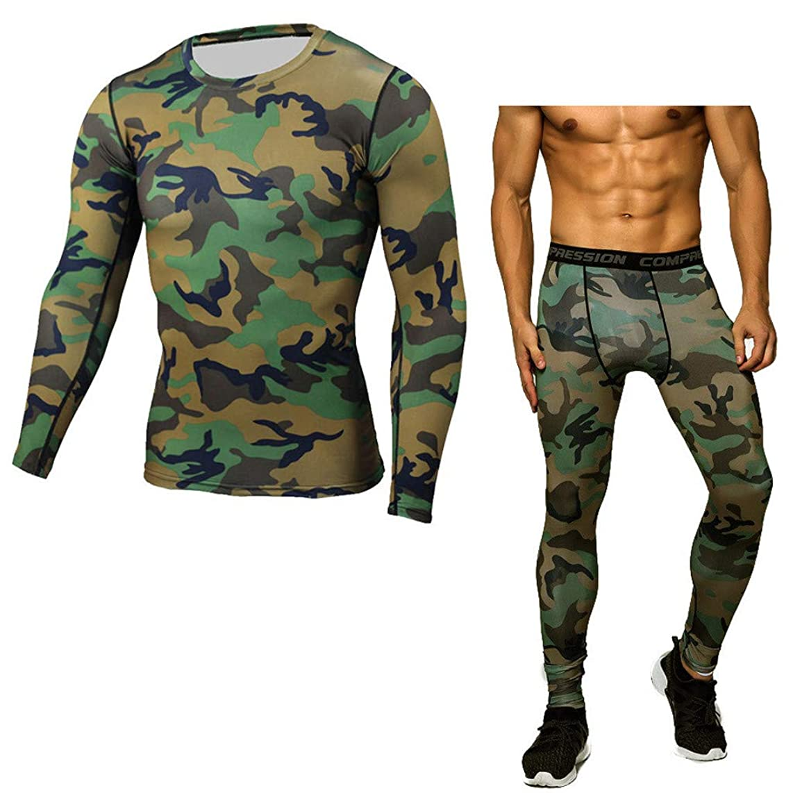 Men's Workout Clothes, Fitness t-Shirt Fast Drying Camouflage Printing Tops Pants Sports Suit Long Sleeve Tight Suit