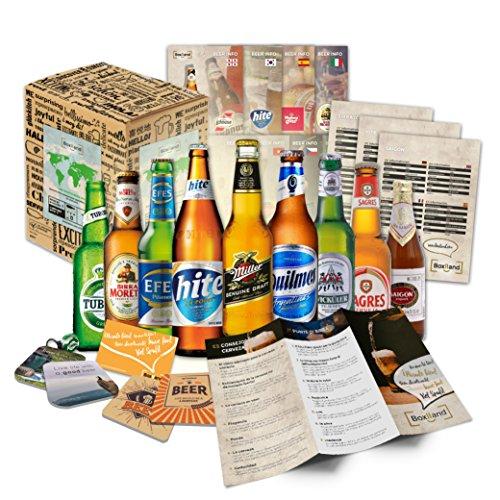 Bier Geschenk Set mit ausländischen Bieren Geburtstagsgeschenk für Freund Geburtstagsgeschenk für Männer oder lustige Geschenkideen 9 exotische Biere x 0,33l