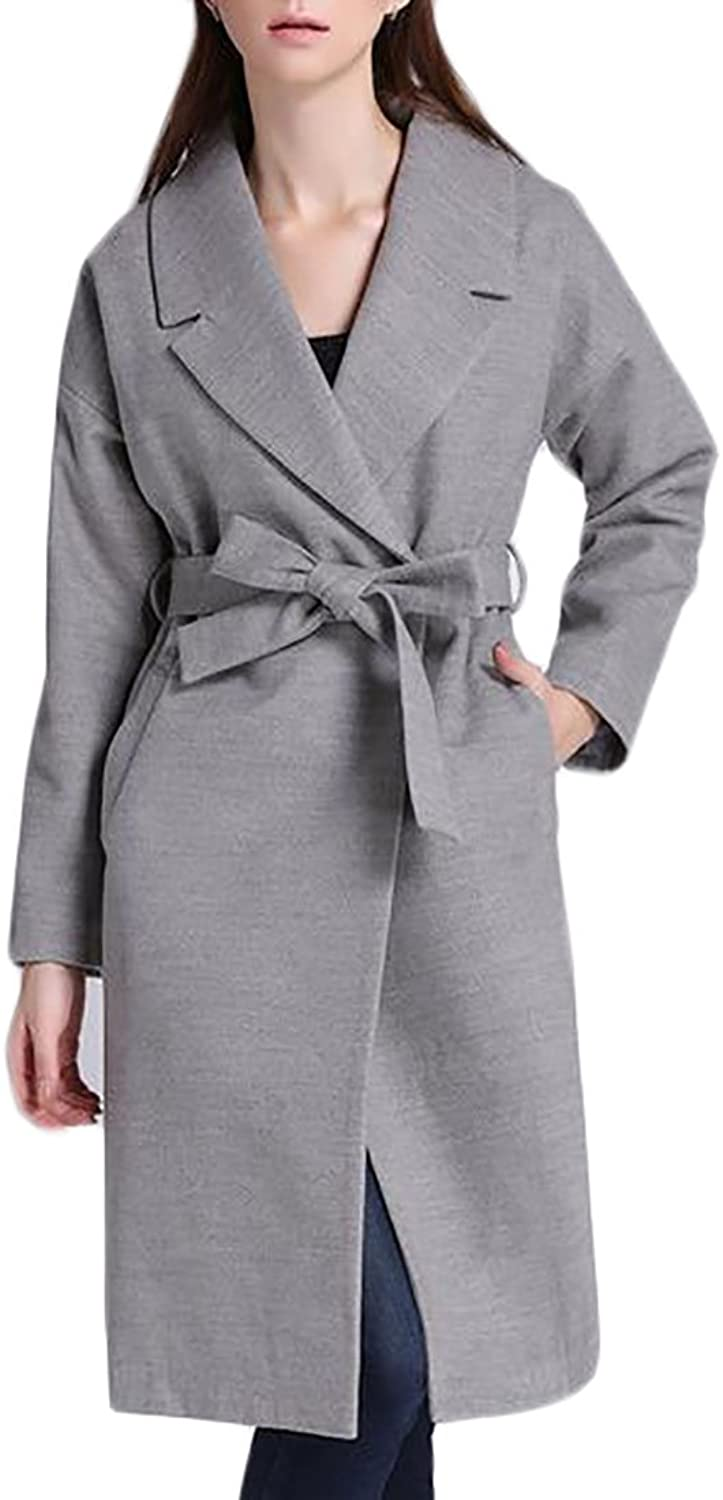 YUNY Women's One Button Lapel Long Loose Wool Blend Pea Coat Overcoat