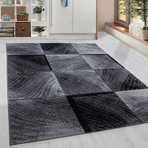 HomebyHome Kurzflor Teppich Karo Kachel Muster Wohnzimmerteppich Grau Schwarz Meliert, Grösse:160x230 cm