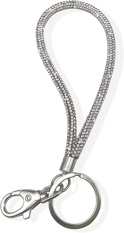 wristlet lanyard keychains for women, Bling lanyard for keys, cute keychain holder (A)