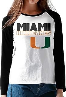 Miami Hurricanes Logo Woman Crew Neck.cotton Raglan Jersey Long Sleeve Baseball T-shirt Black Size M